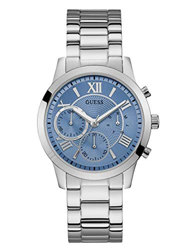 GUESS  Classic Stainless Steel + Sky Blue Bracelet Watch with Day, Date + 24 Hour Military/Int