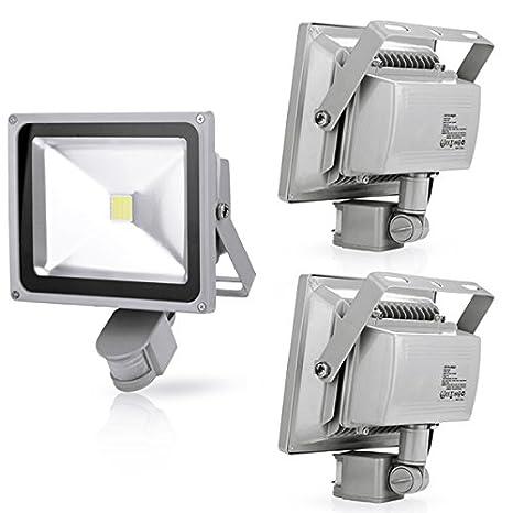 3X 30W Foco LED con Sensor Movimiento, Proyector LED Exterior de Impermeable IP65,Iluminación