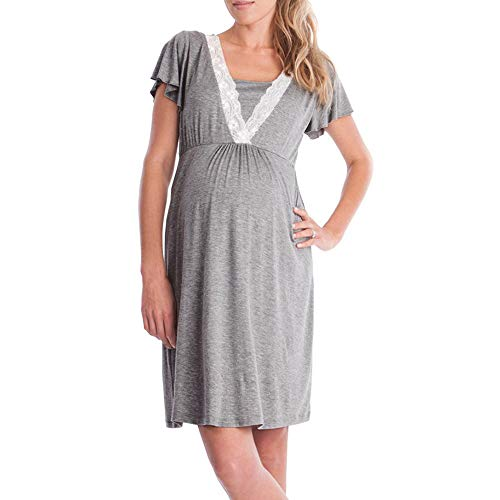 baskuwish Womens Delivery/Labor/Maternity/Nursing Nightgown Pregnancy Gown for Hospital Breastfeeding Dress Dark Gray