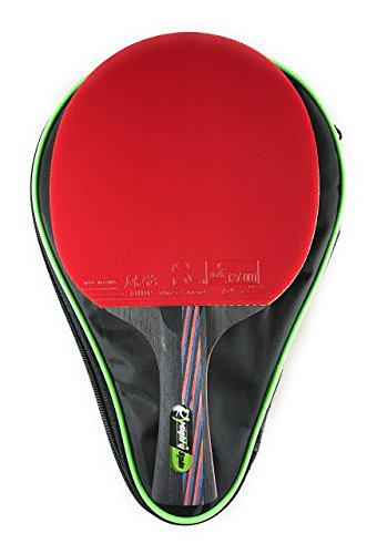MightySpin 10 Star Ping Pong Paddle - Professional Carbon Table Tennis Racket - Blade For Power & Speed - High Performance Sponge Rubber, Control & Spin - Tournament Level Bat (Rubber Gallop, Regular)