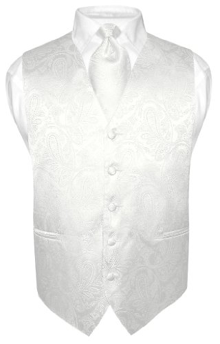 Vesuvio Napoli Men's Paisley Design Dress Vest & NeckTie Off-White Cream Neck Tie Set sz L
