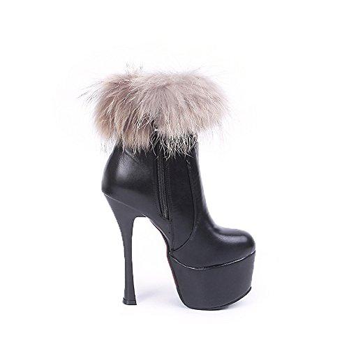 Collar Boots Stiletto Imitated Platform Black Girls Leather BalaMasa Fur qnw0WwBE
