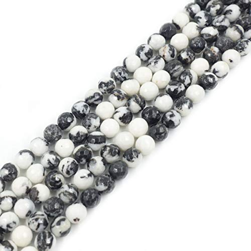 10mm Black White Faceted Round Zebra Jasper Beads Loose Gemstone Beads for Jewelry Making Strand 15 Inch (38-40pcs)