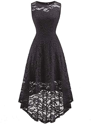 FAIRY COUPLE Women's Vintage Floral Lace Hi-Lo Sleeveless Cocktail Formal Swing Dress DL022A (2XL,Dark Grey)