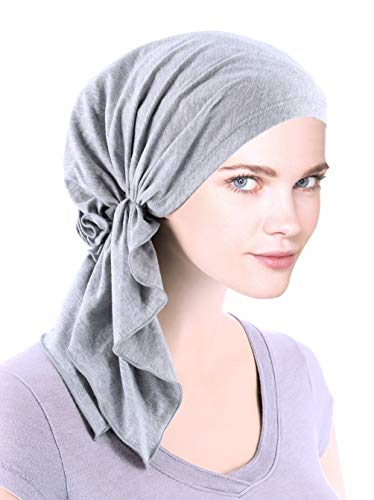 The Bella Scarf Chemo Turban Head Scarves Pre-Tied Bandana for Cancer Heather Gray