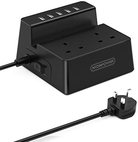 USB Power Strip with Holder, NTONPOWER 2 Way Extension Lead with 5 USB Sockets, Desktop Electric Plug with Switched, USB Charger for Office and Home, 1.5 Meter Extension Cord, 13Amp Fused