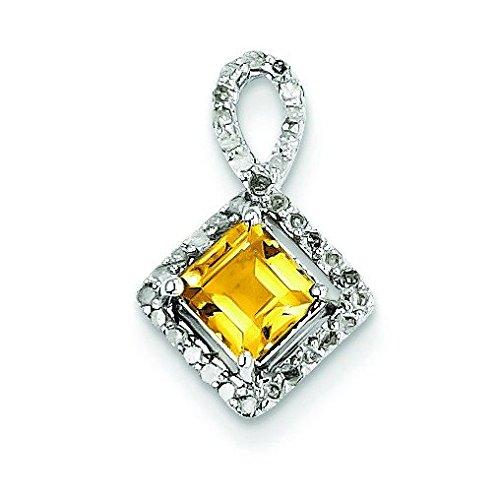 Argent Sterling diamant pendentif-JewelryWeb et Citrine