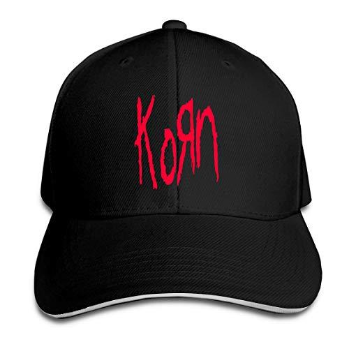Korn Unisex Adjustable Peaked Cap Cotton Sandwich Caps Black ()
