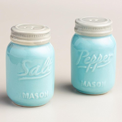 Blue Ceramic Mason Jar Salt and Pepper Shaker by World Market ()