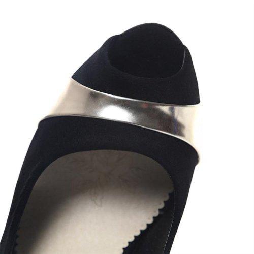 Gloednieuwe Mode Nubuck Damesschoenen Hoge Hakken Peep Toe Sandalen Schoenen Zwart