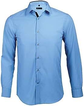 Broker - Camisa Ajustada Hombre Manga Larga Cielo Claro/Azul Marino, T S: Amazon.es: Ropa y accesorios