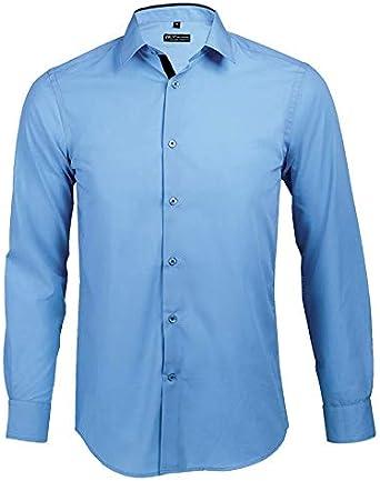 Broker - Camisa Ajustada Hombre Manga Larga Cielo Claro/Azul Marino, T XXL: Amazon.es: Ropa y accesorios