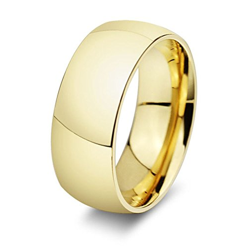 316L Stainless Steel - Choose 8mm OR 6mm wide - Classic Gold Plated Dome Shape Design Wedding Band (Gold Wide Band Ring)
