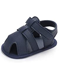 Baby Soft Non Slip Rubber Sole Close Toe Sandles Toddler Crib Shoes 0-18 Months