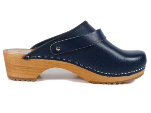 Buxa Unisex Denim Blau Holz und Leder Clogs / Pantoletten, Fersenriemen, Größe 41