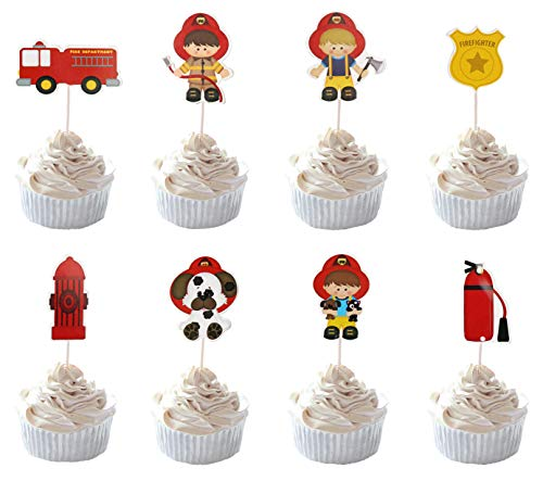 (Party Hive 24pc Firefighter Fireman Fire Truck Cupcake Toppers for Birthday Party Event)