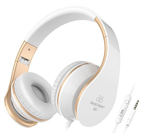 Sound Intone Headphones with Microphone and In-Line Volume Control, Perfect Sound with Powerful Bass, Adjustable, Foldable Headset for Iphone and Android Devices  (White) by Sound Intone
