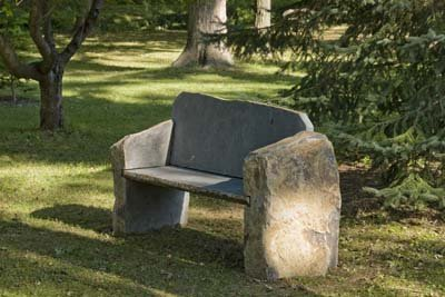 Landmark Basalt Stone Boulder Bench With Back Outdoor Benches Patio And Furniture