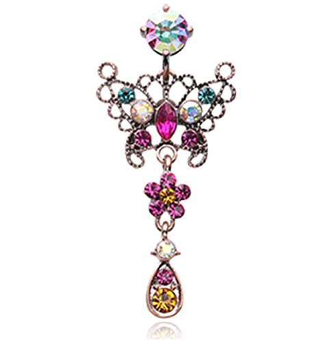 Vintage Boho Glistening Butterfly Flower Reverse 316L Surgical Steel Freedom Fashion Belly Button Ring (Sold Individually) (14GA, 3/8