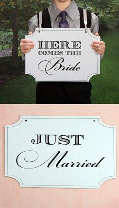 Doble cara diseño de pizarra aquí viene la novia & Just ...