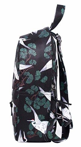 OLETHA Mochila Bolsos Mujer Pequeños | A4 formato | 34x23x11cm | Plata D212G, Grúa japonesa