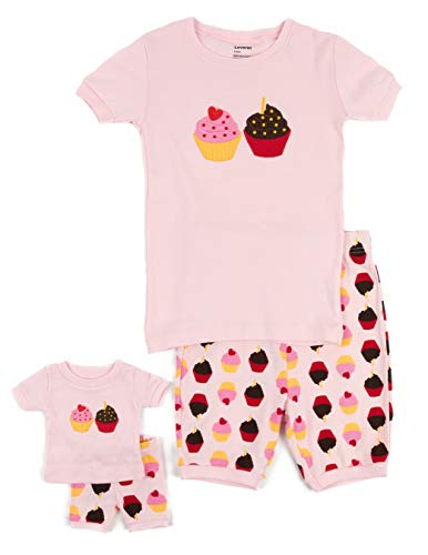 Leveret Shorts Cupcake Matching Doll & Girl 2 Piece Pajama Set 100% Cotton (2 -