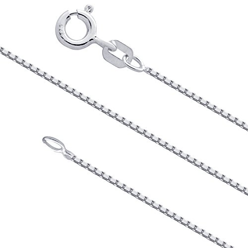 Link Sterling Silver Jewelry Box (0.9mm Sterling Silver Box Chain .925 Italian Necklace (18 inches))