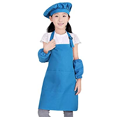 Kids Apron and Chef Hat Set, 6-9 Year Children's Adjustable Bib Aprons with 2 Pockets for Cooking, Baking, Painting CF3013 (blue): Clothing