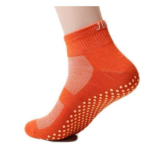 Calcetines antideslizantes, para la familia, yoga, cama elástica, uso sin zapatos en casa, Anaranjado, XX-LARGE (23 cm / 9...