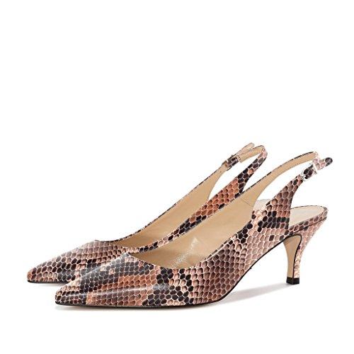 Sexy Escarpins brown Soireelady Talon Z Femme Lanière Cheville Moyen Chaussures TEnvw1Sx
