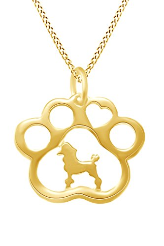 AFFY Poodle Paw Print Pendant Necklace in 14k Yellow Gold Over Sterling Silver ()