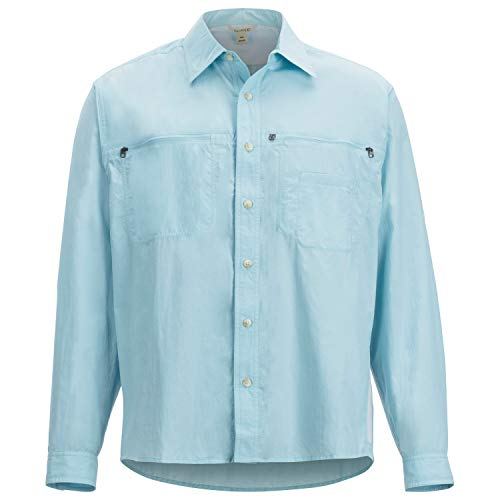 ExOfficio Men's Reef Runner Long Sleeve, Air Blue, - Sports Long Runner Sleeve
