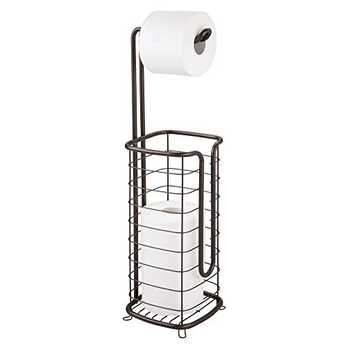 mDesign Free Standing Toilet Paper Holder Stand and Dispenser, with Storage for 3 Spare Rolls of Toilet Tissue While Dispensing 1 Roll - for Bathrooms/Powder Rooms - Holds Mega Rolls ()