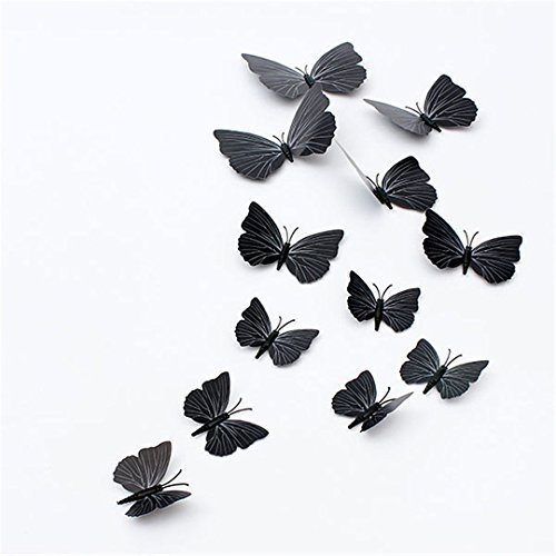 [New 12PcsX 1Color Art Decal Girls Home Room Wall Stickers 3D Butterfly Decorations Decors
