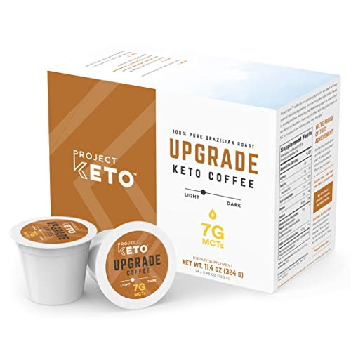 Project Keto UPGRADE Coffee Pods with 7g MCTs, 100% Pure Brazilian Roast Coffee for Paleo Diet and Ketogenic Lifestyle, 24 Count, Compatible with Keurig 2.0 and Most Single-Serve K-Cup Brewers
