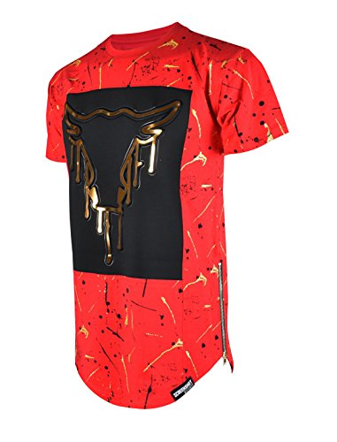 SCREENSHOT SCREENSHOTBRAND-759 Mens Hipster Hip-Hop Premiun Tees - Urban Streetwear Embossed Gold Print T-Shirts Dripping Bull-Red-Large