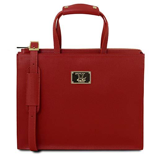Palermo Compartiments Rouge 3 Serviette Saffiano En Tuscany Avec 98141369 Cuir Leather fqUUSFxT