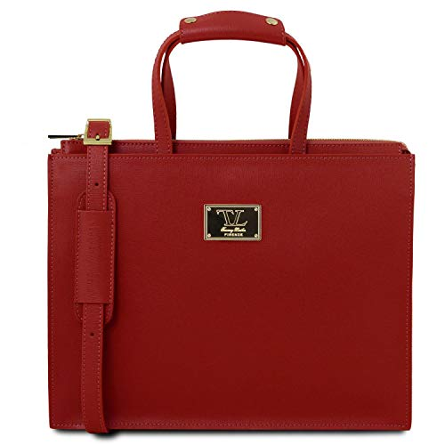 Palermo 3 Avec Rouge Tuscany Leather Compartiments Cuir 98141369 En Serviette Saffiano nAaq8qEw0x