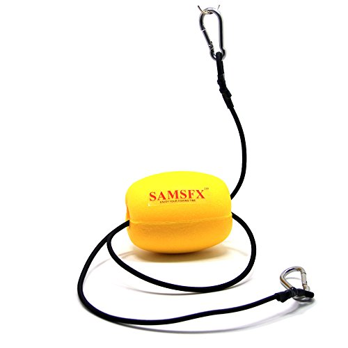SAMSFX Kayak Drift Anchor Tow Nylon Rope Tow Line with EVA Buoy 304 Stainless Steel Clips Kayak Accessory