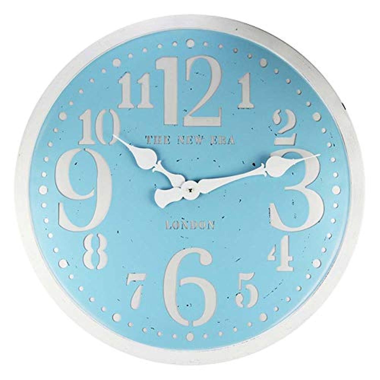 お母さんオレンジファイバWsw ホームラウンドレトロLED壁時計リビングルーム錬鉄製壁時計北欧装飾時計テーブル58 * 58 * 4.5 Cm(ブルー) ファッション
