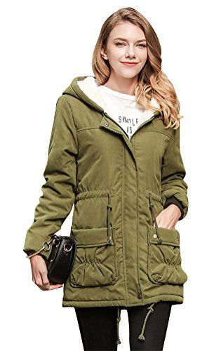 ACE SHOCK Winter Coats for Women Hooded, Faux Fur Lined Parka Jackets with Belt Long Warm Black Green Pink Navy (Plus Size US 14w-16w, Army Green) (Size Lined Plus Coat)