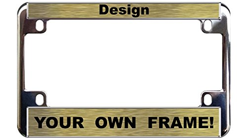 MOTORCYCLE Custom Personalized Chrome Metal License Plate Frame – Gold / Black