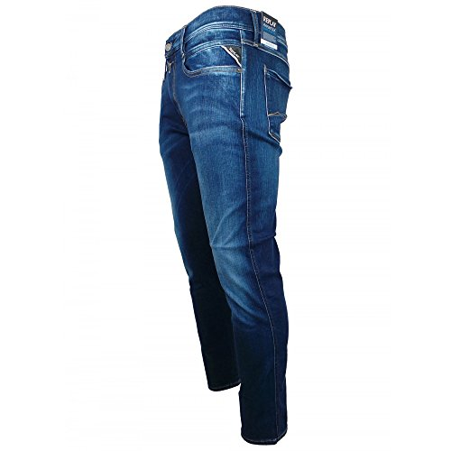 Uomo Replay Denim Slim Jeans Anbass Blu fRg1t
