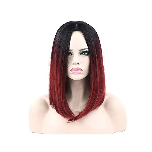 11 Colors Black to Blue Ombre Hair Wig Synthetic Hair Short Bob Wigs Straight Cosplay Wig for Black Women ()
