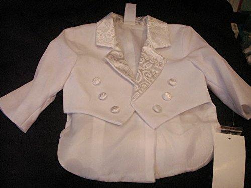 White Baby Tuxedo Christening Baptism with Satin 3T
