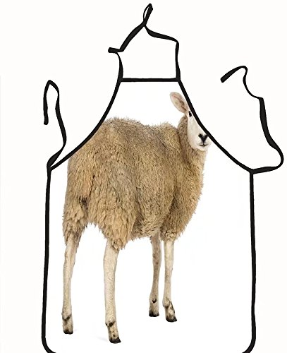 chanrancase tailored apron rear view of a sheep looking back against whi Children, unisex kitchen apron, adjustable neck for barbecue 26.6x27.6+10.2(neck) - Men Looking For Manila Women