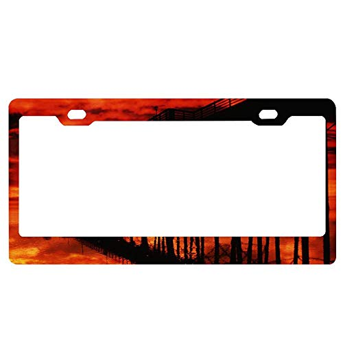 Fiery Sky Over Pier in San Diego Black Aluminum Metal License Plate Frame, Auto Car License Tag Holder Custom Car Accessories for US Standar (Best Pier Fishing In San Diego)
