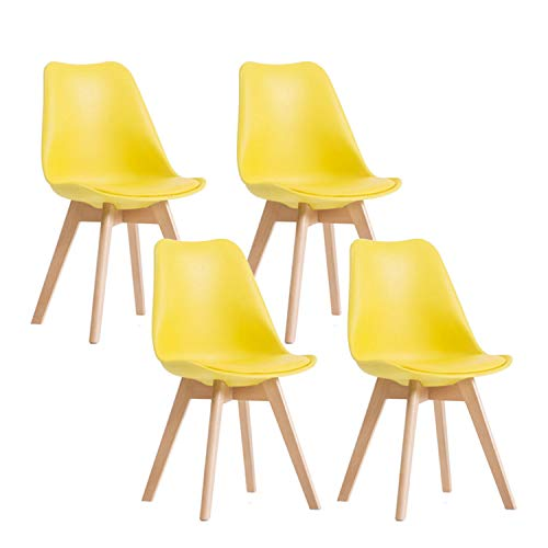 YEEFY Dining Chairs Side Chair DSW Dining Chair Walnut Legs, Set of 4(Yellow)