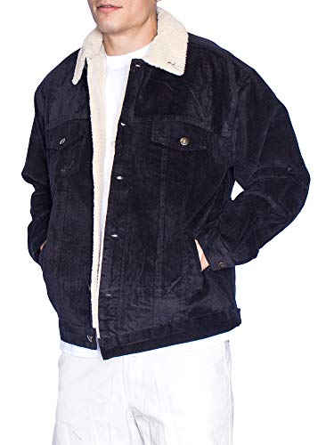 Oscar Mens Corduroy Sherpa Lining Jacket (X-Large, Black)