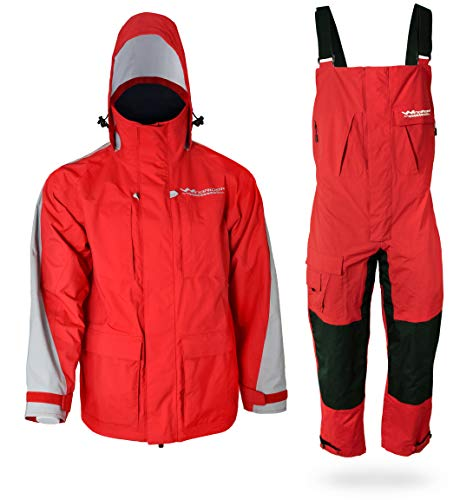 WindRider Pro Foul Weather Gear - Rain Suit - Jacket + Bibs - Breathable, Numerous Pockets, Mesh Lined for Comfort - for Fishing, Sailing, Outdoor Adventuring (Red, Medium)